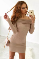 Wholesale Stretchy Long Knit Dresses - 2017 Winter Elegant White Stretchy Knitted Casual Dress Women Evening Party Sexy Autumn Bodycon Sweater Girls Dresses Vestidos