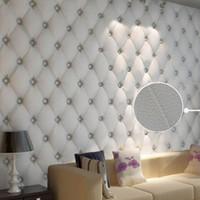 Wholesale Pvc Leather Rolls - Wholesale-Modern Leather Softbag 3D Wallpaper PVC Diamond Sofa Living Room Bedroom Background Home Decor Wall Paper Roll Papel De Parede