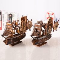 Wholesale Boat Wooden Puzzle - Vintage Wooden Sailing Boat Wood Pirate Ship Music Box 3D Puzzles Model Collectible Sailboat Toy Crafts Christmas Gifts Home Decoration