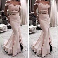 Wholesale sexy silk pieces gown for sale - 2018 Elegant Off the Shoulder Short Sleeves Two Piece Mermaid Prom Dresses Sexy Side Split Evening Dresses Party Gowns
