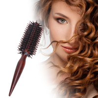 Wholesale Round Wood Handle - Roll Round Comb Brush Hair Care Tool Wood Handle Natural Bristle Curly Hair Brush Fluffy Comb Hairdressing Barber Tool