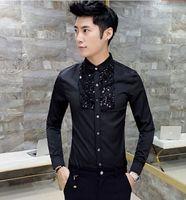 Wholesale Personalize Clothing - Wholesale- New Unique Fashion Men's Clothing Personalized sequined slim shirt Male nightclub paillette decoration slim long-sleeve shirt