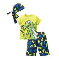 Wholesale dinosaur kids hat - New kids suit boys clothing summer kids dinosaur 3pcs clothes kids T-shirt+pant+hat set 3 pieces children clothes suit
