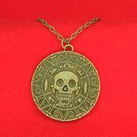 Wholesale Antique Aztec - Antique Pirates of the Caribbean Aztec Gold Necklace Bronze Skull coin pendants for women Men Fashion Jewelry 160552
