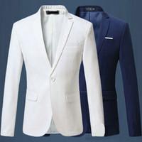 Wholesale Blue Blazer Jacket Mens - NEW Mens Fashion Brand Blazer British's Style Casual Slim Fit suit jacket male Blazers men coat 5 colors Plus Size M~6XL