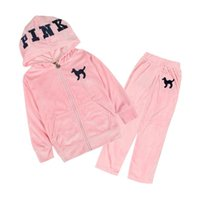 Wholesale Embroidered Hoodie Kids - Girls velvet tracksuit baby girl PINK printing jogging suit kids velvet hoodie pants suit set embroidered tracksuits free shipping