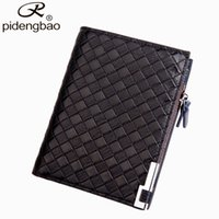 Wholesale Pidengbao Wallets - Wholesale- pidengbao Fashion Men Wallet Famous Brand Knitting Designer Wallets Men Purse Leather Wallet With Coins Pocket ID Card Holder