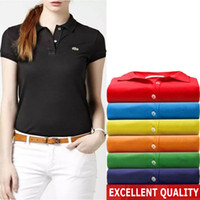 Wholesale Slim Fit Short Shirts - 2017 New Women POLO Shirt Fashion Top quality Crocodile Embroidery Polo Homme Slim Fit Short-sleeve Pure cotton Polo Woman Summer Tops&Tees