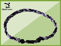 "Wholesale Purple Braid Necklace - purple black white baseball softball football necklace -via DHL 3 ropes tornado braided titanium 3 ropes necklace Germanium&Titanium 22"""