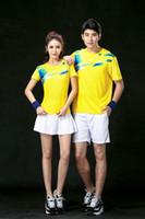 Wholesale T Shirts Set Men Wholesale - 2017 Badminton Shirt Men Women Couple Sports Quick Dry Breathable Clothes Table Tennis Uniforms Shirt+Shorts 1 Set Team Training Yellow T-Sh