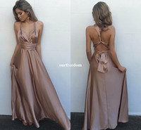 Wholesale ruched empire waist prom dresses resale online - 2019 New Criss Cross Back Junior Prom Dresses V Neck Champagne Empire Waist Formal Evening Occasion Dresses Custom Made Cheap Sale