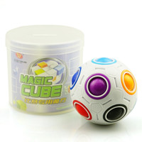 Wholesale Funny Footballs - 2017 Hot Magic Cube Toy Speed Rainbow Ball Football 3D Puzzles Funny Creative Educational Learning Toys for Children Adult Gifts