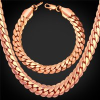 Wholesale Pink 9mm - U7 9MM Hiphop Snake Chains Set Rose Gold Plated Chain Necklace Bracelet Sets for Men Jewelry Punk Accessories Jewelry Sets