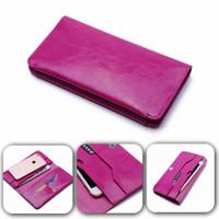 funda doble billetera iphone al por mayor-Moda Retro doble bolsillos para el teléfono cubierta Dual PU Leather Wallet Universal Case Bolsa de múltiples funciones para el iphone 7 Samsung S7 S6 borde
