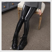 Wholesale Kid Girls Leather Trousers - 2017 New Spring Autumn Girls PU Leggings Pants Fashion Girl Leather Tights Kids Black Leggings Pants Children Trousers 70-150cm 10pcs lot