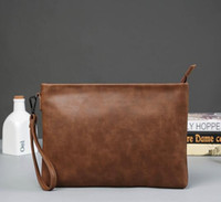 Wholesale Old Man Phones - factory direct selling brand crazy horse leather bag Korean men hand bag retro old business hand envelopes simple atmospheric leather packag