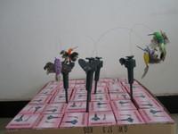 ingrosso ali del giardino-144pcs colibrì svolazzanti volanti solari, uccello di volo solare con l'ala della piuma, giocattolo degli uccelli del giardino TRASPORTO di FEDEX del DHL
