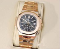 Wholesale 18kt Gold Watches - wristwatch Luxury New Automatic N@utilus 5980 1R Black Dial 18kt Rose Gold Chronograph MINT mens Watch Men's Watches Top quality