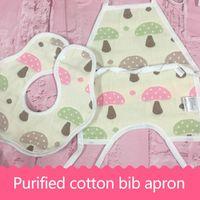 Wholesale Muslin Bibs - Cartoon Shape Cute Pattern Multi-color Six Layers of Gauze Muslin Snap Deluxe Soft Baby Bibs Boys Girls Belly Mouth Two Pieces