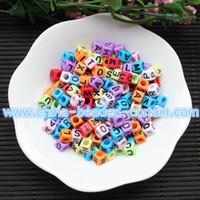 Wholesale Alphabet Letter Cube Acrylic Beads - Hot sale Bracelet Nacklace charms 500pcs 6MM Mixed Colors Acrylic plastic Opaque Square Cubes single letter alphabet beads