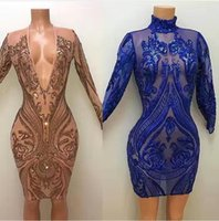 Wholesale Short Sheath Bling Dresses - 2017 Sexy Short Sheath Prom Dresses with Plunging V Neck Long Sleeves Illusion Sequined Lace Cheap Mini Bling Party Evening Gowns