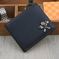 Wholesale Open Combination - Trendy Scorpion and Skull Spanner Combination Rivets Pattern Notecase Genuine Cowhide Leather Short Wallets Card Holder Coin Purse for Men