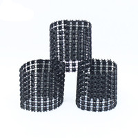 Wholesale Wedding Wrap Chair - Wholesale- 50Pcs Lot Plastic Rhinestone Wrap Black Napkin Ring Napkin Buckle Hotel Wedding Supplies European Style Home Chair Decoration