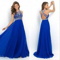 Wholesale Dress Maxi Runway - Elegant Women Dress Bandage Chiffon Blue Dress Backless Halter Beaded Long Dress Vestido Longo De Festa