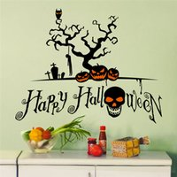 Decal carved halloween pumpkins - Pvc Creative DIY Halloween wall sticker for child bedroom black Skeleton pumpkin Carved Removable Decorating Sticker Decor