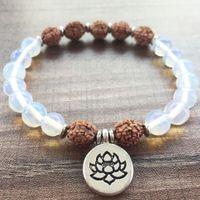 opal perlen armbänder großhandel-Lotus Armbänder Naturstein Bodie Armbänder 8 MM Opal Armband Lotus Anhänger Yoga Gebet Mala Perlen Mode Armband Für Frauen