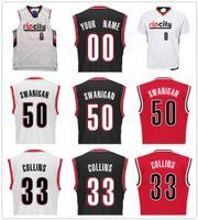 Wholesale Nylon Picks - 2017 Draft Picks 50 Caleb Swanigan Jersey Printed Red Black White 33 Zach Collins Jusuf Nurkic Noah Vonleh Moe Harkless Basketball Jerseys