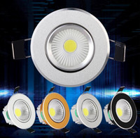 Wholesale touch switch led cabinet lights - Dimmable 9W 12W 15W COB Led Down Cabinet Lights (Silver White Golden Black) Led Recessed Downlight Lighting AC 85-265V + Power Supply