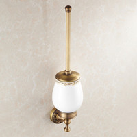 Wholesale Household Products Wholesale - Luxury Golden Plated Finish Toilet Brush Holder With Ceramic Cup Household Products Bath Decoration Wall Mounted Bathroom Accessories