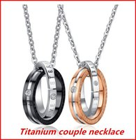 Wholesale Couple Necklaces Platinum - Stainless Steel Couple Necklace Lover Pendant Necklace Valentine's Day Jewelry Gift Golden Color and Silver Color bea025