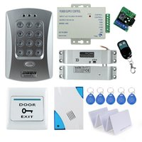 Wholesale Electronic Button Lock - Wholesale- Nice!! Full Electronic Drop Bolt lock system kit set with RFID access control keypad+door bell+power supply+remote button