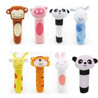 Wholesale Cheap Infant Toys - Wholesale- Hot Sale Newborn Rabbit Panda Monkey Toy Animal bell Dolls Baby Kid Birthday Party Gift Cheap-infant-toys Bebek Oyuncak