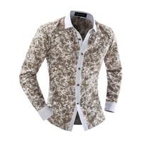 Wholesale Blouse Porcelain - Wholesale- Mens Slim Fit Casual Dress Shirt Floral Print Long Sleeve Blue And White Porcelain Color Design Blouse Lapel Tops Men shirt