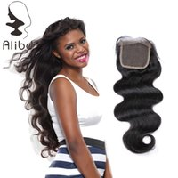 Wholesale Lace Closure Cap - Alibd Glossy Indian Lace Closure Fresh Hair Cut From Young Girl 4*4 Cap Size Virgin Remy Human Hair Lace Closure Mixed Textures