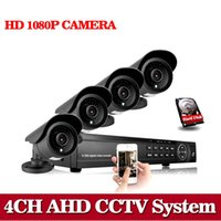Wholesale Dvr Cctv 4ch Camera - AHD CCTV System 4CH 1080N 1080P DVR 4PCS 1080P AHD SONY CCD Waterproof Outdoor CCTV Camera Security System Surveillance 1TB HDD