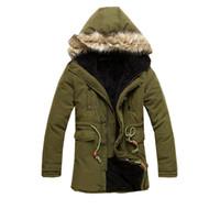 Wholesale Trend Fashion Jacket Korean - Wholesale- 2016 Korean casual men's winter fashion trends solid color long section of zipper warm fur collar hooded cotton jacket XL