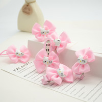 Wholesale Hair Bow Pairs - Wholesale- 6piece lot 2016 Hello Kitty By Pairs Dot Bow Cute Hairpin Hair Accessories Bowknot Girls Hair Clip