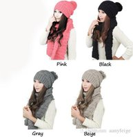 Wholesale Multicolor Winter Scarfs - wholesale winter hat and scarfs set for women warm suit girls wool hats thicken multicolor designer scarves ladies scarf
