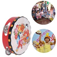 Wholesale Tambourine Rattle - Wholesale- Chinese Traditional Drum Rattles Toy Baby Wooden Musical Toys Kids Educational Toys Gifts Hand Held Tambourine Drum Bell