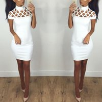 Wholesale Bodycon Club Dress Wholesale - 2017 New Mini Dress Sexy Short Sleeve Hollow Out Shoulder Ladies Bodycon Dress Women High Neck Cut Out Bandage Dress Clubwear