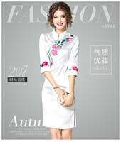 Wholesale Cheongsam Temperament - 2017 new white collar Chinese early autumn wind temperament embroidered cheongsam slim skirt back zipper