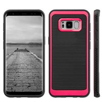 Wholesale Tpu Smartphone Case - Hybrid Armor Case for Galaxy S8 iPhone7 Smartphone Protective Brushed Carbon Back Cover TPU PC for Samsung iPhone 7 Cases