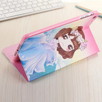 "Wholesale Ipad Mini Girl - Cute Cartoon Girls Stand PU Leathe Ultra Slim Tablet Case For Apple Ipad air 2 Ipad 5 6 Pro 9.7"" For Ipad Mini 1 2 3 4 Case Cover Girl Case"