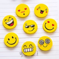 Wholesale Face Eraser - Emoji Eraser Emotion Kawaii Eraser Novelty Stationery School Supplies Cartoon Rubber Erasers lovely smile face eraser creative expression