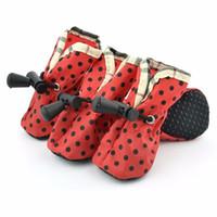 pet set chaussures fashion achat en gros de-4 Pcs / set 2017 Mode Coloré Dot Pluie Chaussures Pour Chien Anti Slip Grands Chiens Oxford Étanche Chaussures Couvrent 3XL 7 Tailles