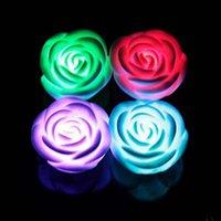led roses lights بالجملة-2016 الساخن بيع للتغيير اللون led روز زهرة شمعة أضواء دخاني الورود عديمة اللهب الحب مصباح